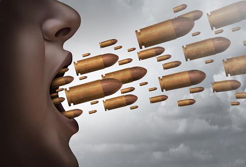 hate speech rappresentato come proiettili contro le vittime