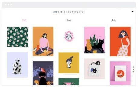 modello di sito web portfolio arte